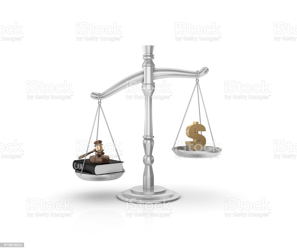 Weight Scale with Gavel And Dollar Sign stock photo