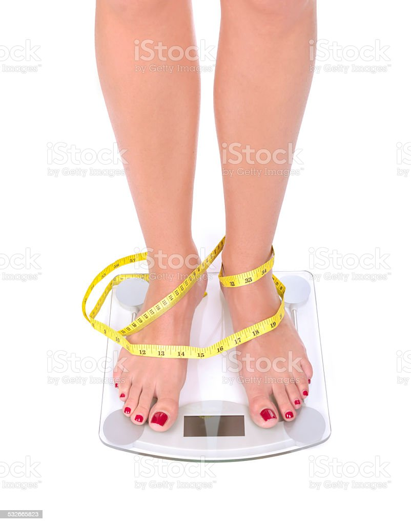 Weight scale with meter stock photo
