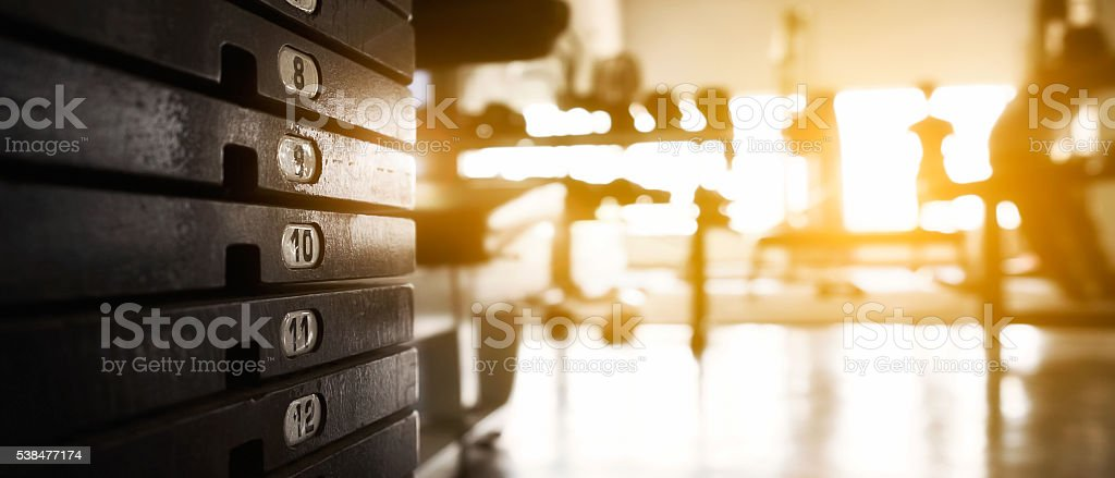 Weight stack at fitness. stock photo