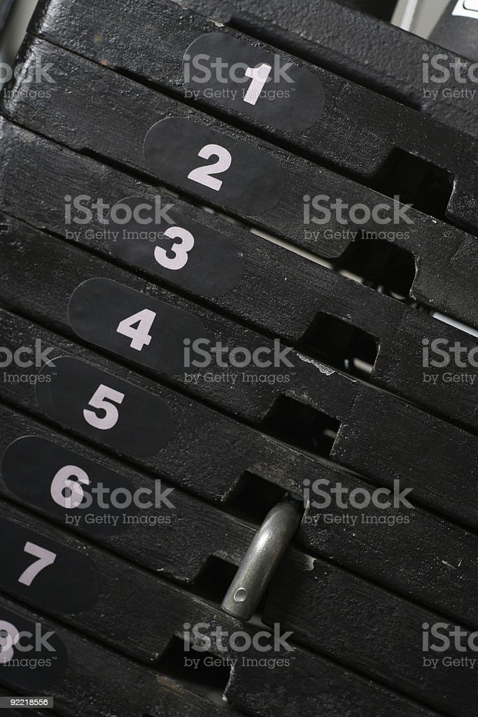 Weight stack close up royalty-free stock photo