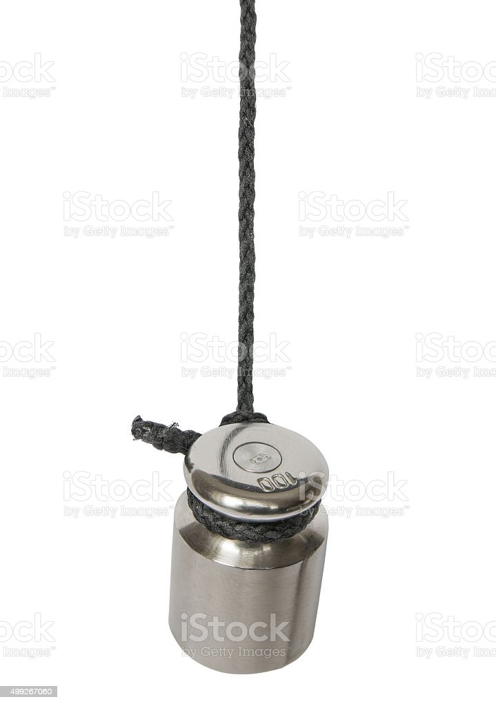 Weight tied to a rope stock photo
