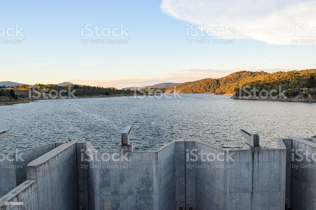 Weighted flood gates on Jindabyne Dam, confining the Snowy River stock photo