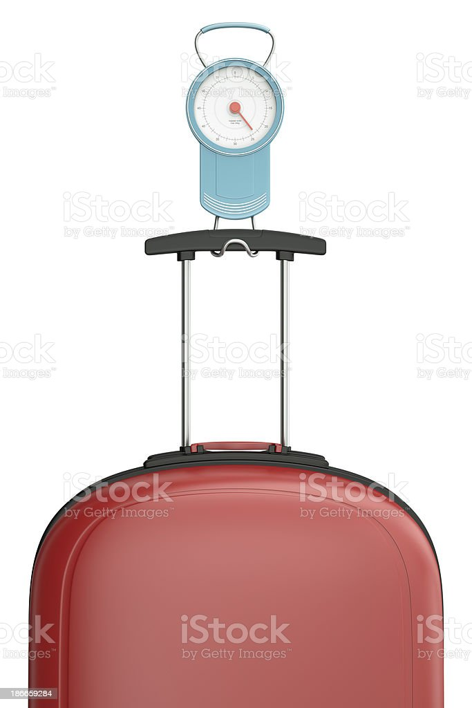 Weighting luggage - luggage scales with a travel suitcase stock photo