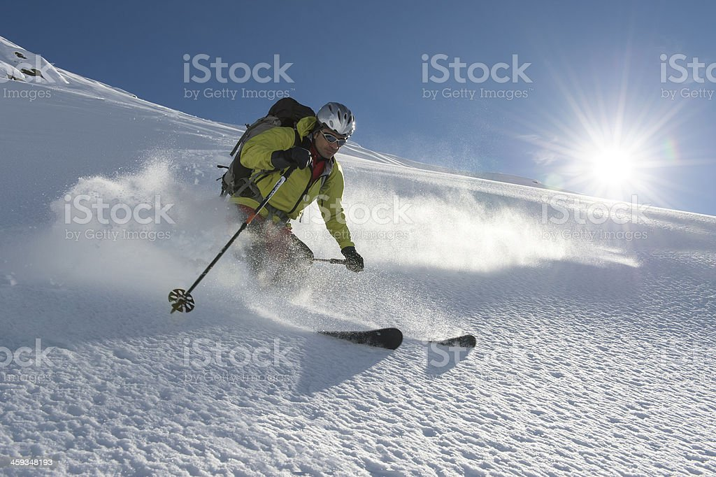weightless and free skiing stock photo