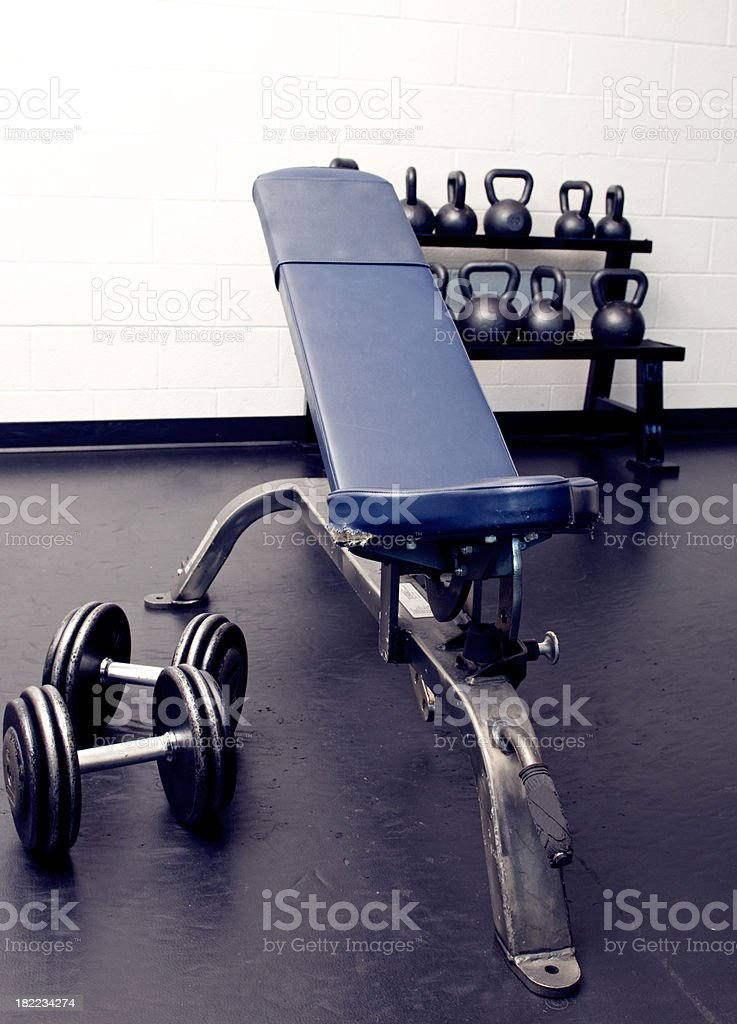 Weightlifting Bench and Weights royalty-free stock photo
