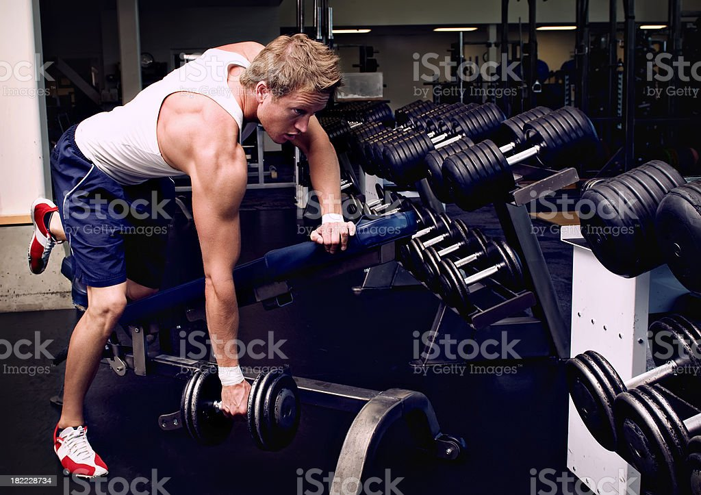 Weightlifting One Arm Row royalty-free stock photo