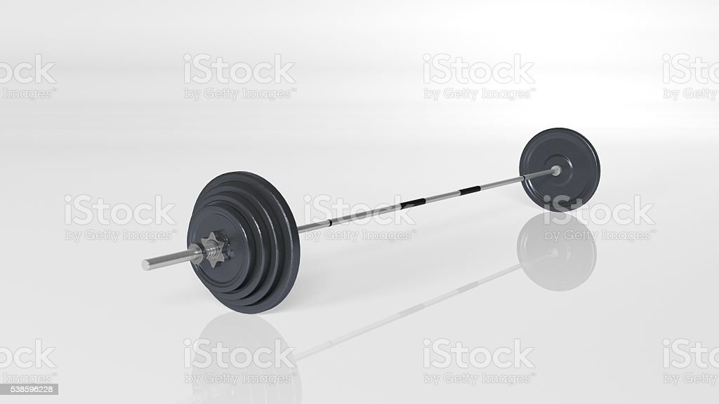 Weights, adjustable weight set, sports equipment isolated on white stock photo