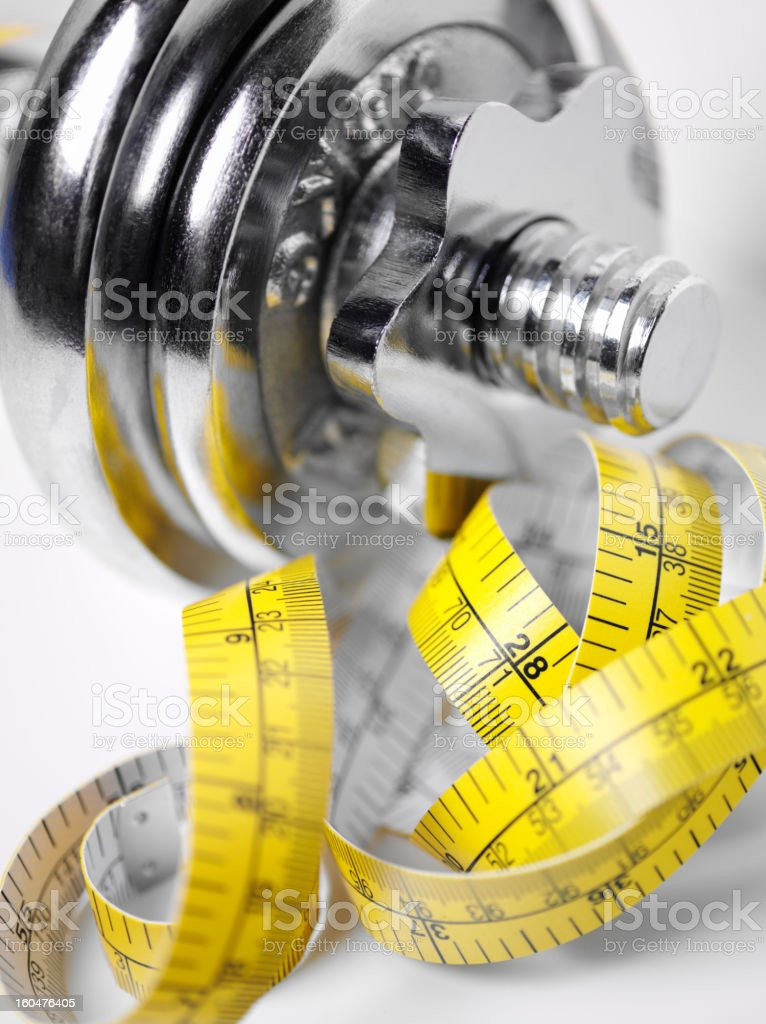 Weights and Tape Measure stock photo