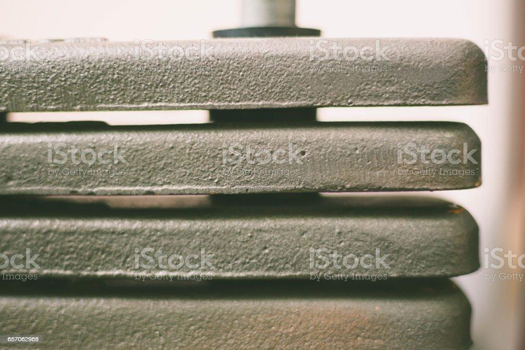 weights equipment on fitness machine stock photo