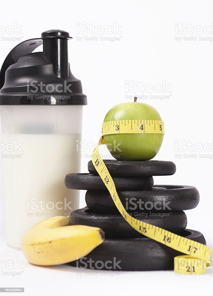 Weights, Fruit and Protein Drink royalty-free stock photo