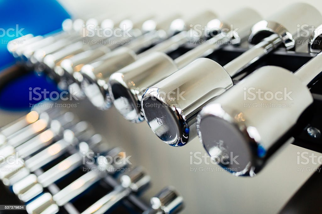 Weights in a gym stock photo