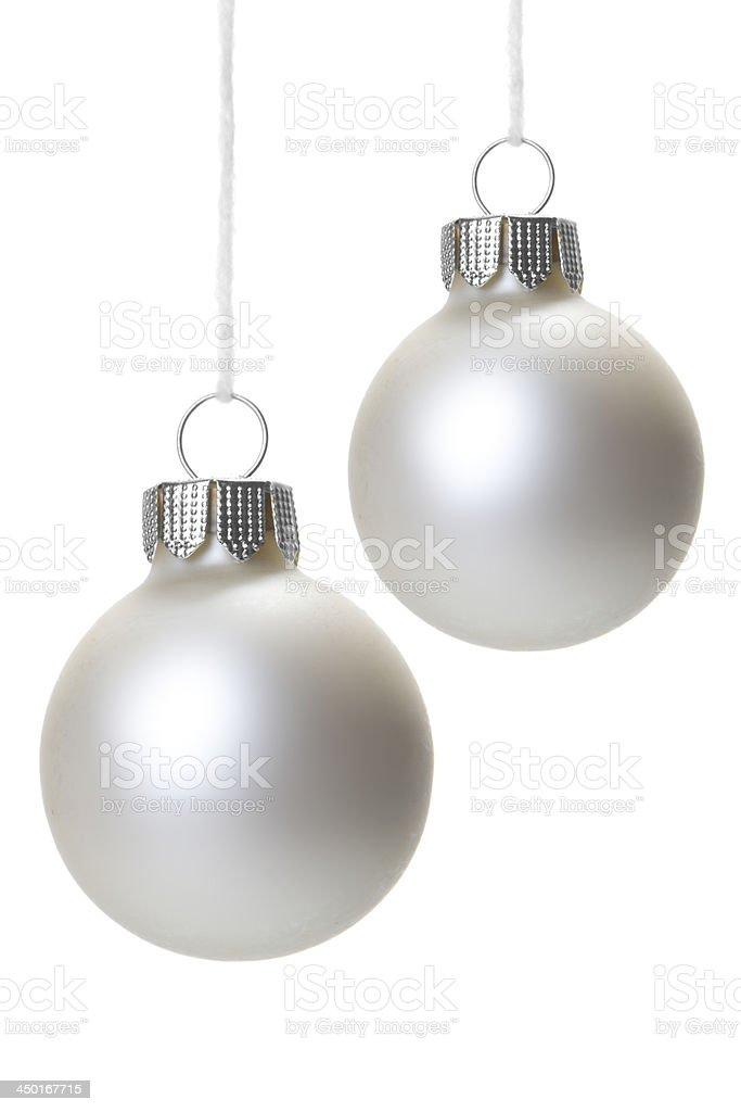 Weihnachten, Weihnachtskugeln wei? h?ngend isoliert royalty-free stock photo