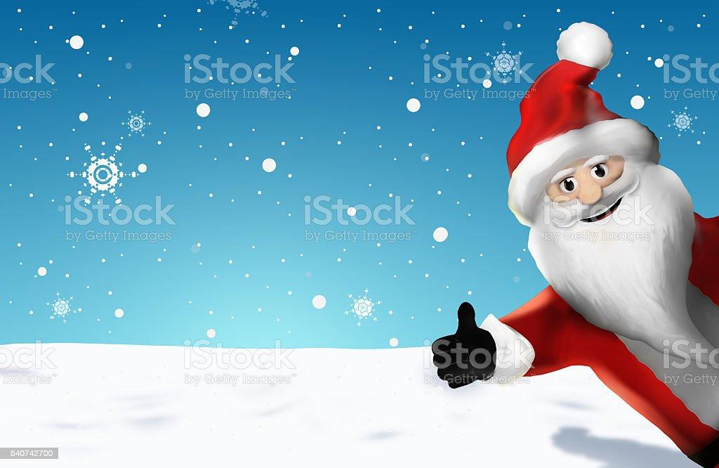 Weihnachten Weihnachtsmann Daumen hoch 3D Render Cartoon stock photo