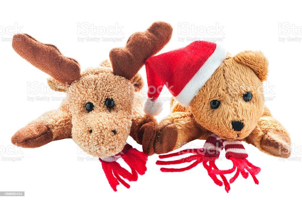 Weihnachtselch und Weihnachtsbär stock photo