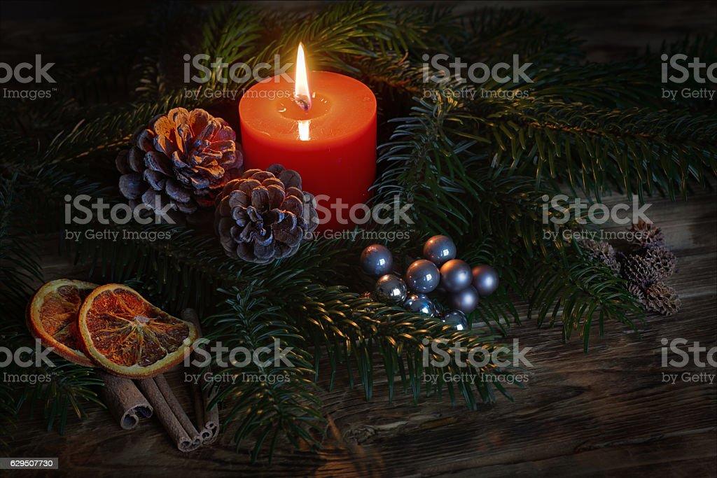 Weihnachtskerze stock photo
