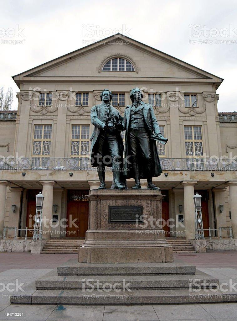 Weimar, Germany / Goethe–Schiller monument stock photo