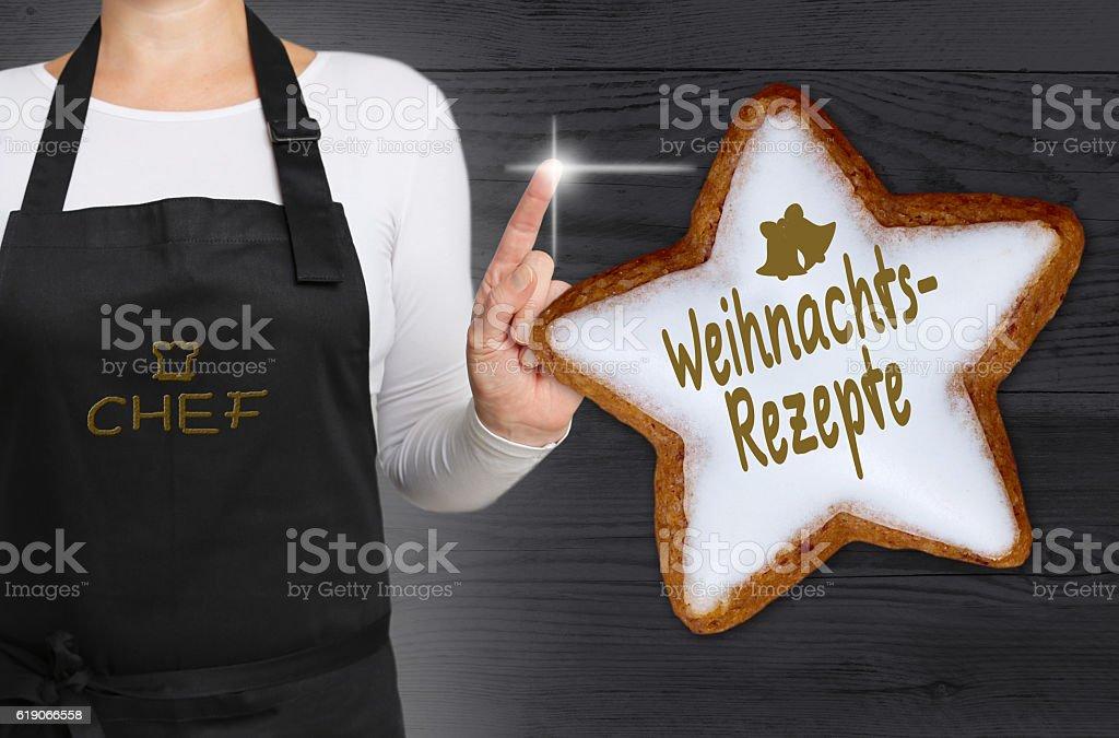Weinachtsrezepte (in german Christmas recipes) Cinnamon star is stock photo