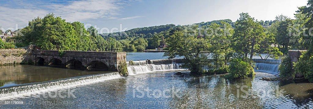 Weir at Belper stock photo