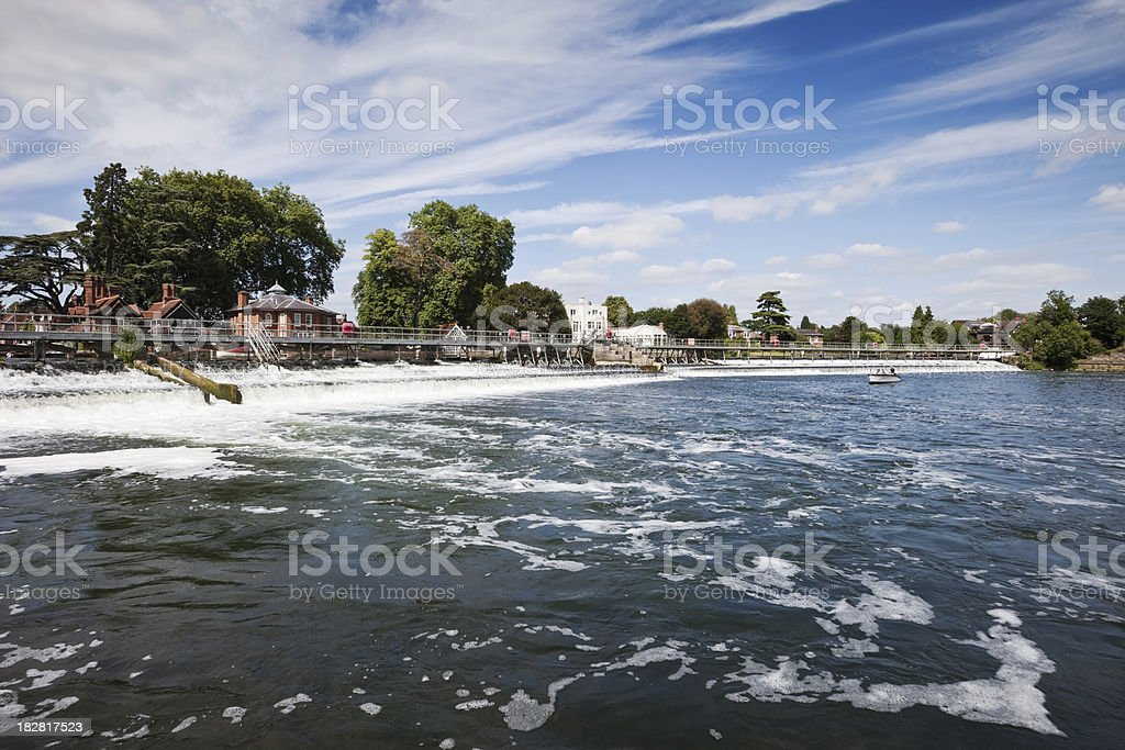 Weir at Marlow on the River Thames stock photo