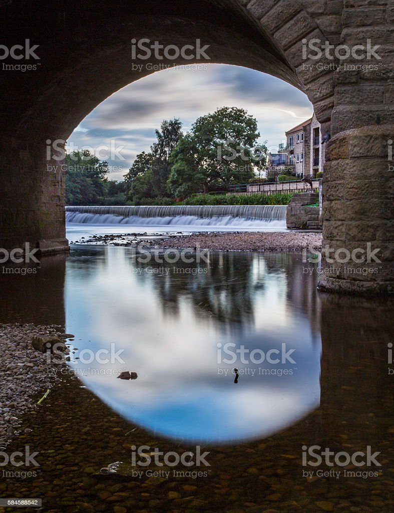Weir at River Wharfe, Wetherby, West Yorkshire stock photo