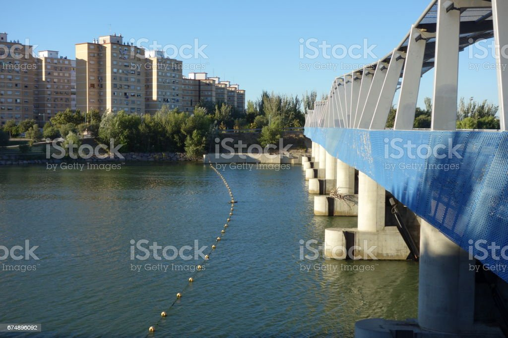 weir at the upper side from the upper part on the Ebro river, Saragossa stock photo