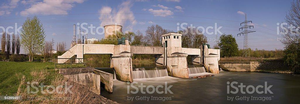 Weir Long Exposure Panorama stock photo