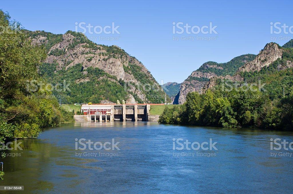 Weir near the Cozia monastery, Romania stock photo