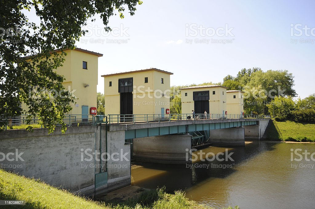 Weir (Falling Water) of Elbe River (Germany) stock photo
