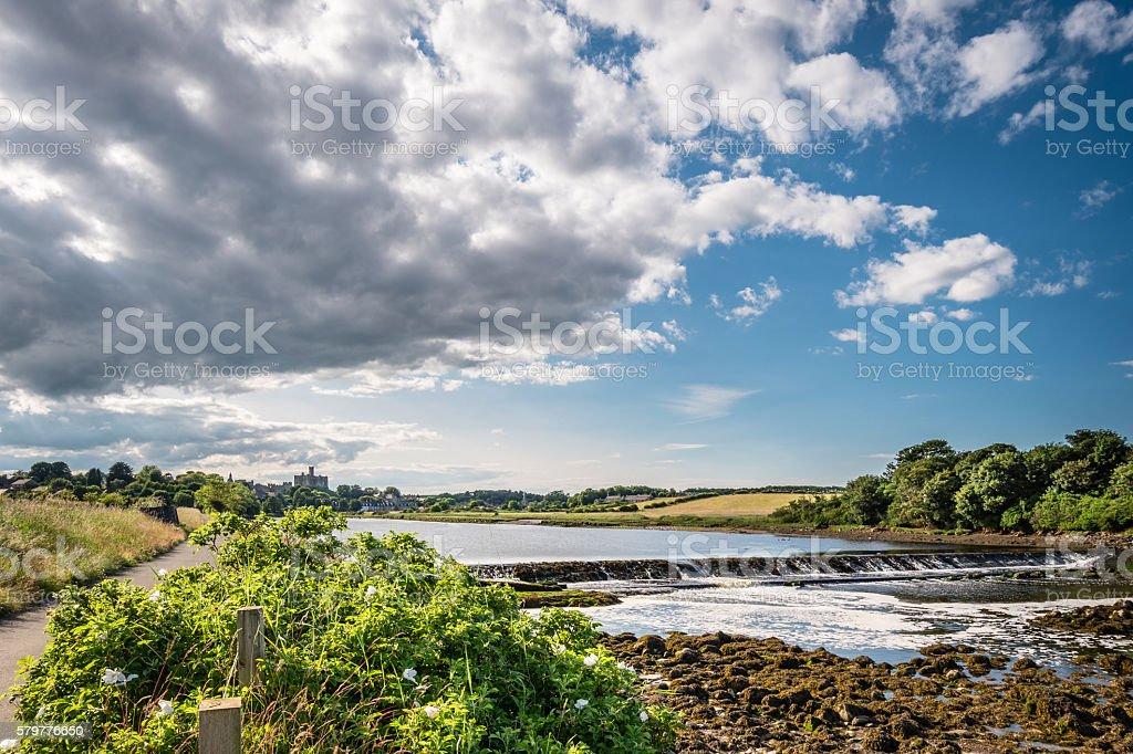 Weir on River Coquet below Warkworth stock photo