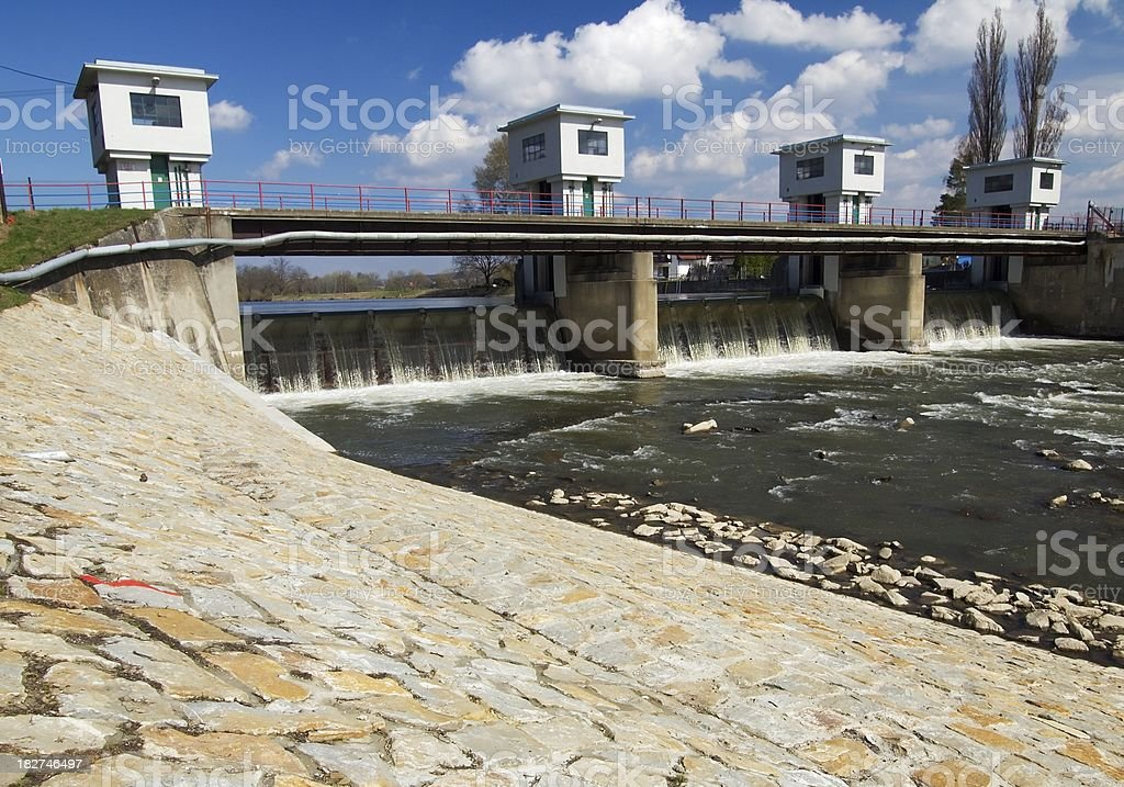 Weir on river royalty-free stock photo