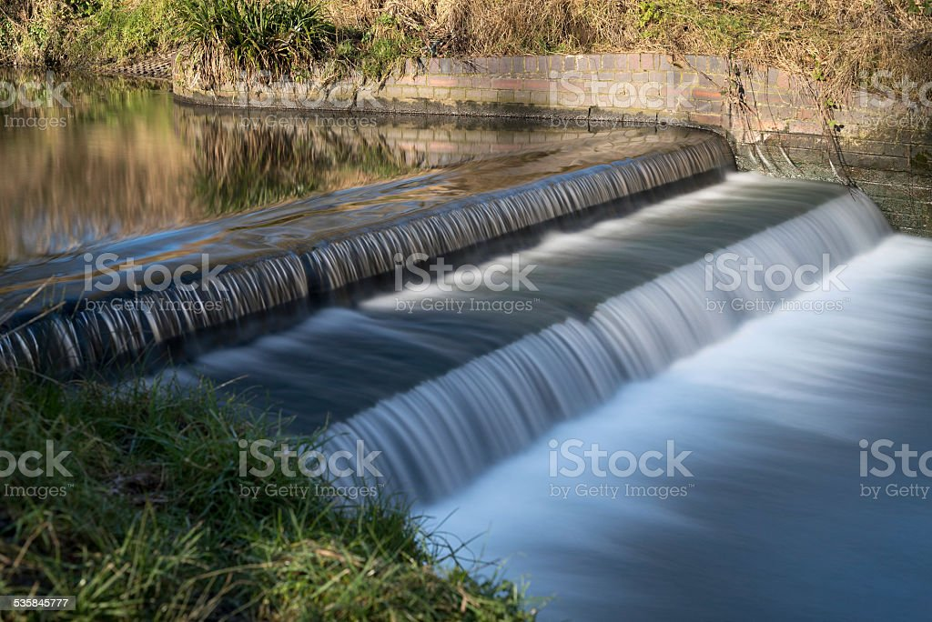 Weir on the Rea in Canon Hill park, Birmingham. stock photo