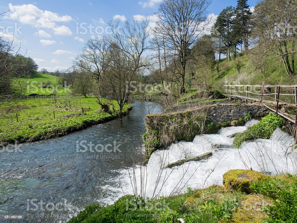 Weir on the River Wye stock photo