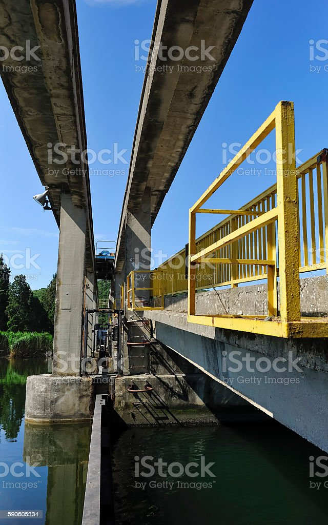 Weir on water in the delta of the Neretva  Croatia stock photo