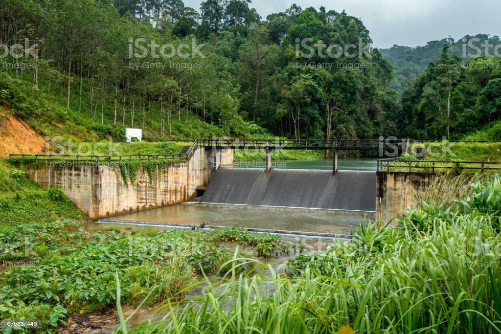 Weir softering water for agriculture,Thailand stock photo