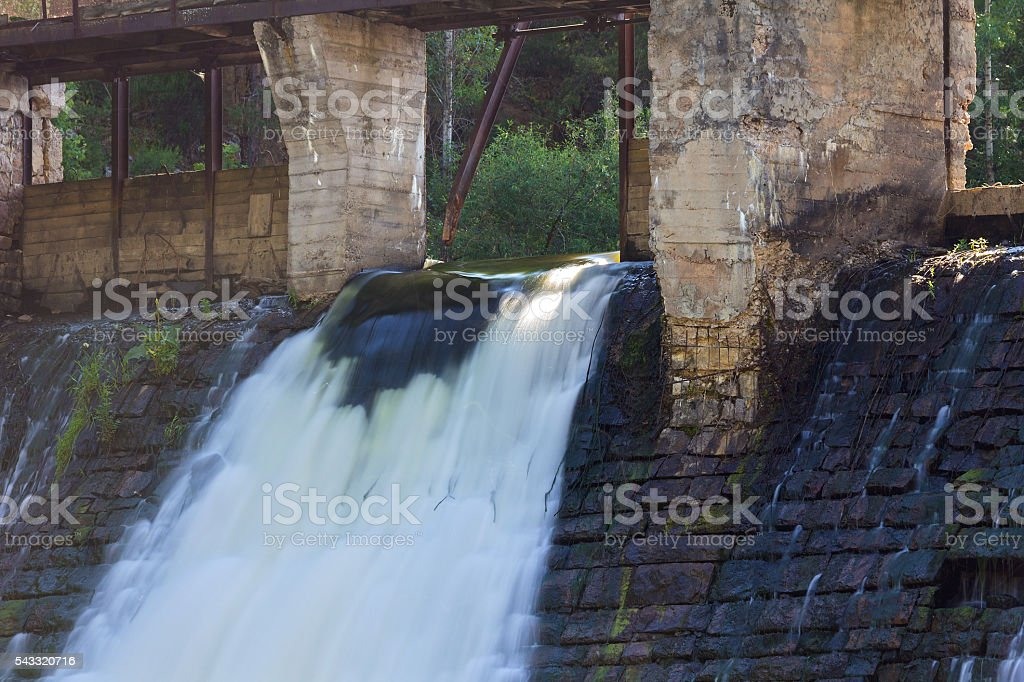 Weir with falling water stock photo