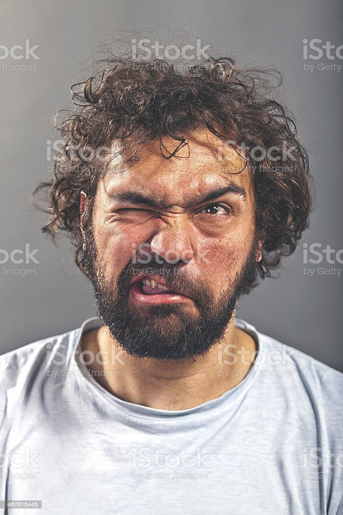 Weird and crazy guy stock photo