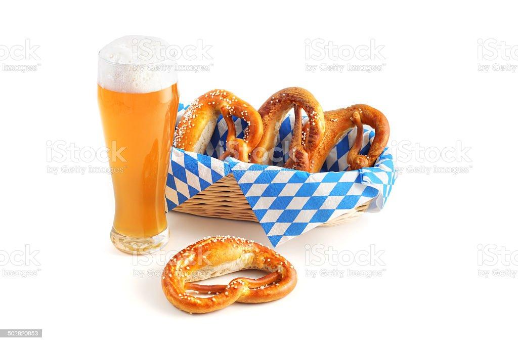 Weissbier with bavarian pretzel stock photo