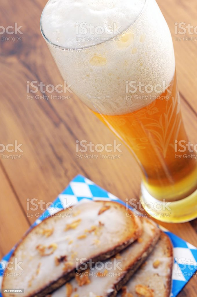Weissbier with bread stock photo