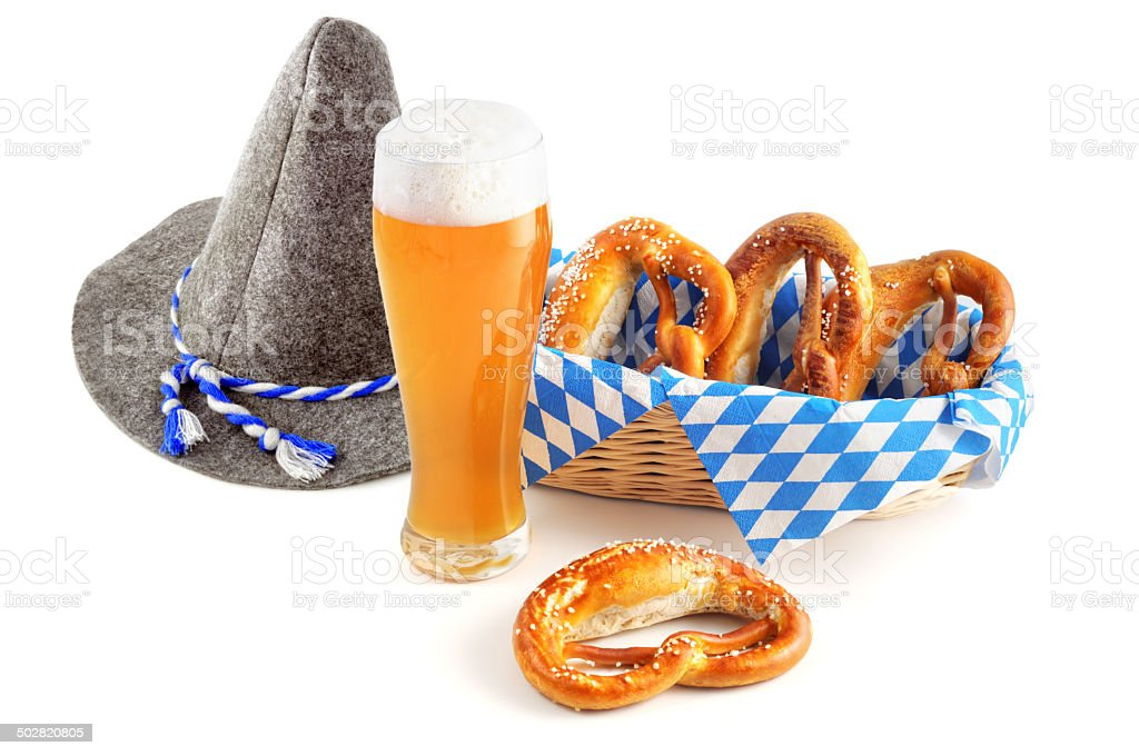 Weissbier with hat and pretzel stock photo