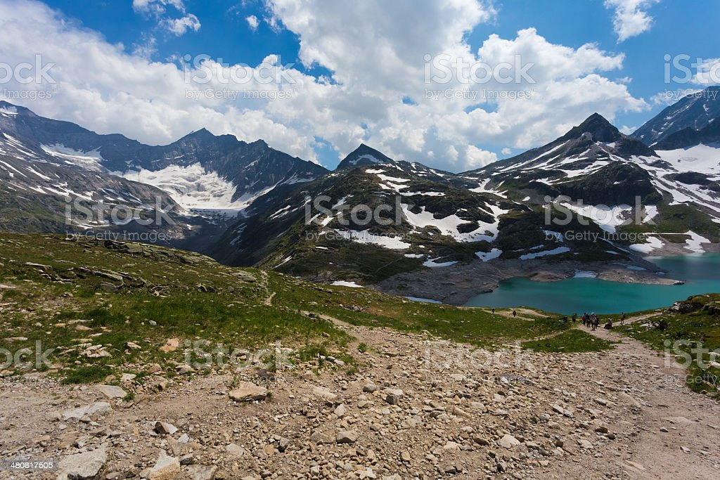 Weisse in Austria. Lake in alpine mountains stock photo
