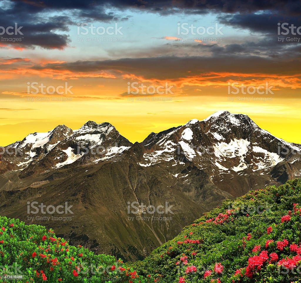 Weissmies, Lagginhorn and Fletschhorn - Swiss Alps stock photo