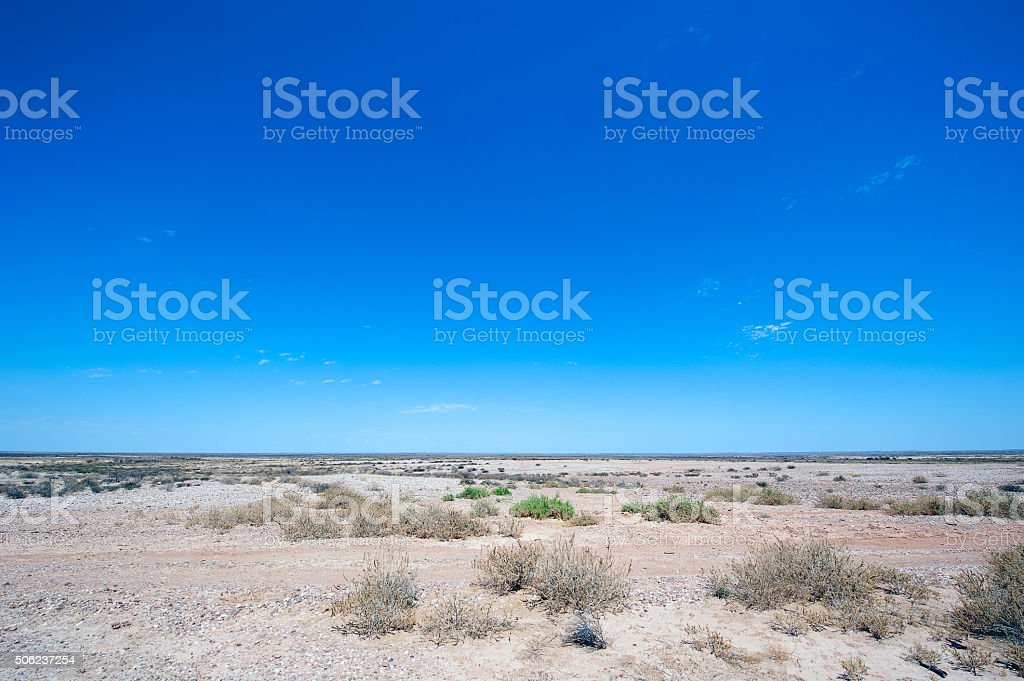 Weissrand landscape of sky and desert, Namibia stock photo