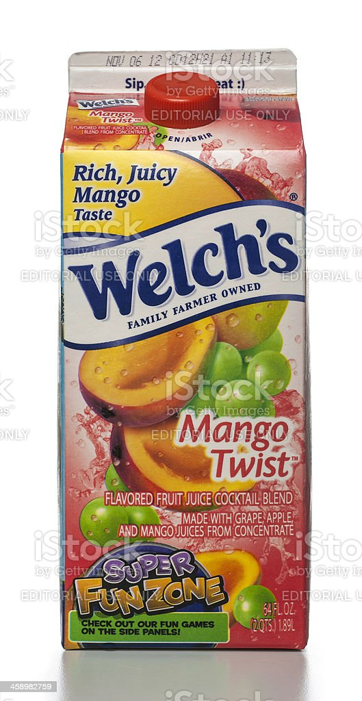 Welch's Mango Twist Flavored Fruit Juice Cocktail carton royalty-free stock photo