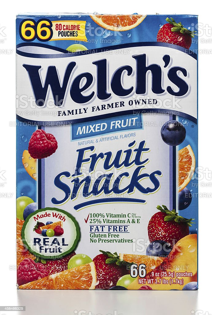 Welch's mixed fruit snacks box stock photo