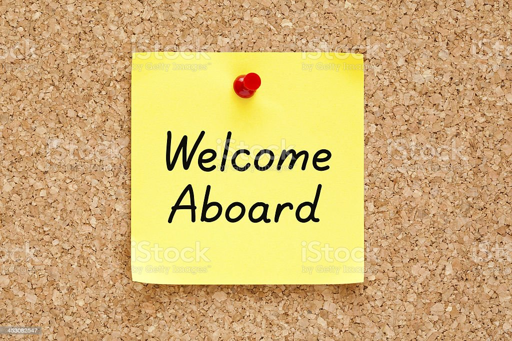 Welcome Aboard Sticky Note stock photo