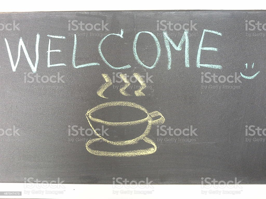 Welcome and coffee stock photo