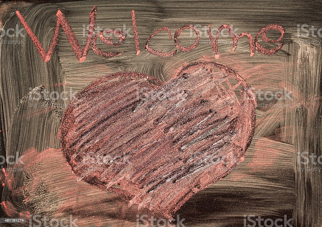 Welcome and Heart stock photo
