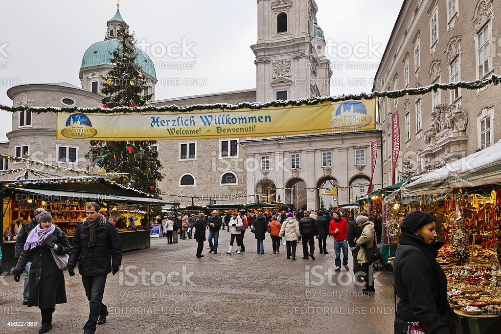Welcome at the Christmas Market in Salzburg royalty-free stock photo