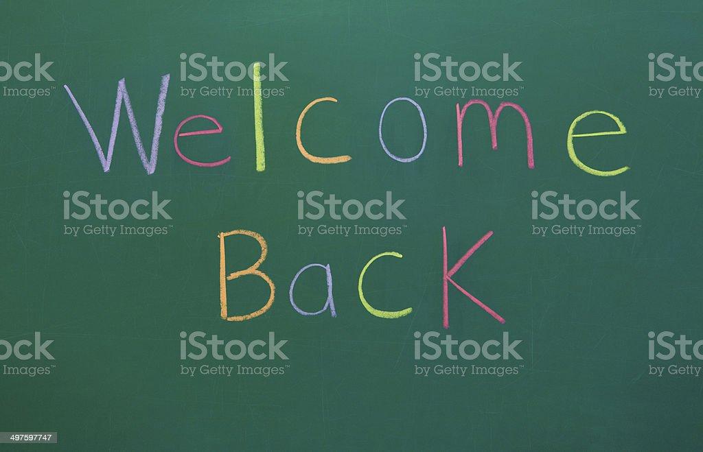 Welcome Back on Chalkboard stock photo