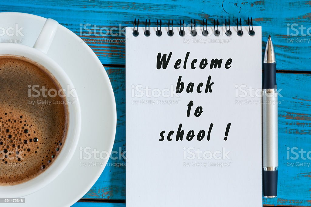 Welcome back to school. September beginning concept written at notepad stock photo
